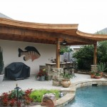 Curved Arbor with Ledgestone Bases
