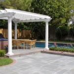White Arbor and Pool Remodel